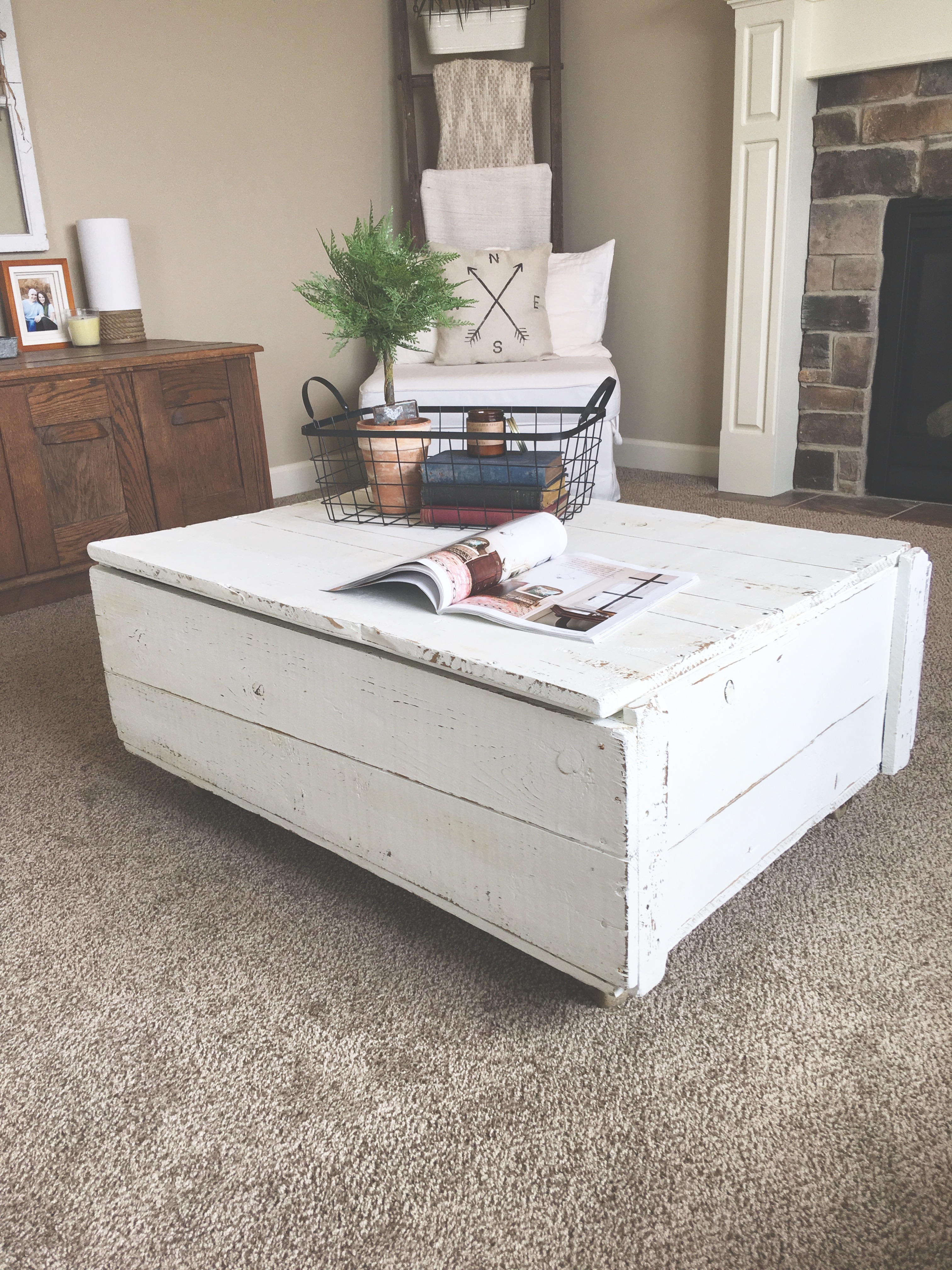 Vintage Shipping Crate Coffee Table with Saltwash